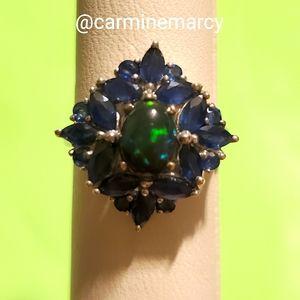 Lolite & black opal ring